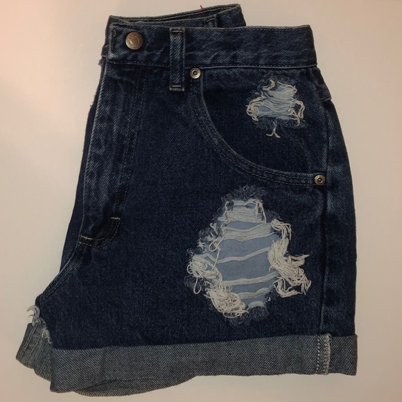 Wrangler Pants - Wrangler Distressed Denim High-Waisted Shorts